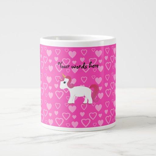 Corazones lindos del rosa del unicornio taza jumbo