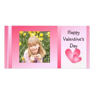 Corazones lindos del rosa y blancos tarjeta fotografica personalizada