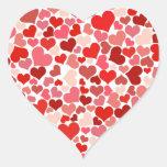 Corazones lindos pegatina en forma de corazón