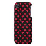 Corazones lindos rojos y modelo negro iPhone 4/4S funda