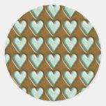 Corazones - menta del chocolate etiqueta redonda