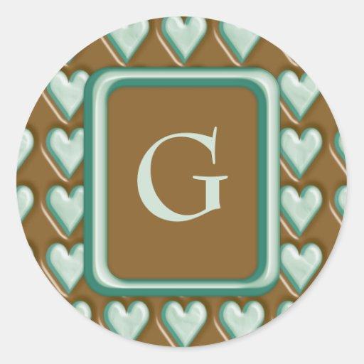 Corazones - menta del chocolate etiquetas redondas