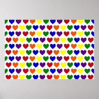 Corazones minúsculos del arco iris posters