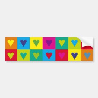 Corazones multicolores pegatina de parachoque
