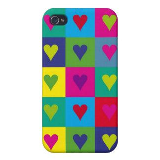 Corazones multicolores iPhone 4 cárcasa