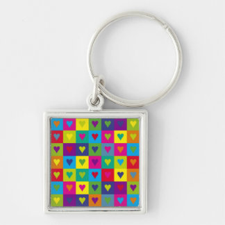 Corazones multicolores llaveros personalizados