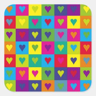Corazones multicolores calcomanías cuadradass personalizadas