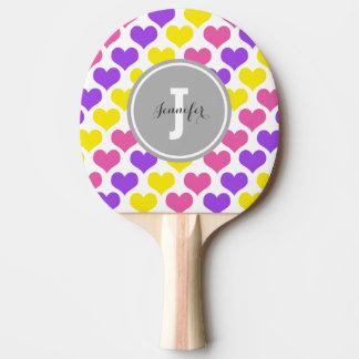 Corazones multicolores personalizados pala de ping pong