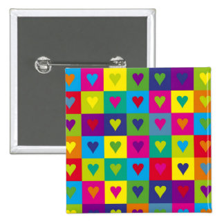 Corazones multicolores pin