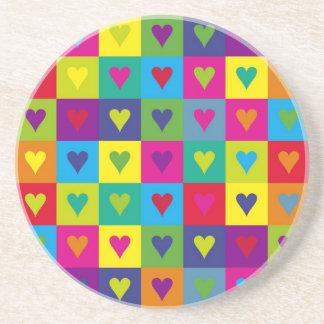 Corazones multicolores posavasos personalizados