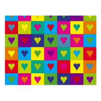 Corazones multicolores tarjetas postales