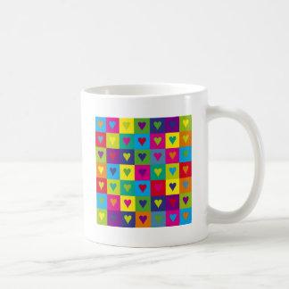 Corazones multicolores tazas de café