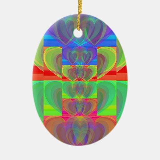 Corazones múltiples del arco iris adorno ovalado de cerámica