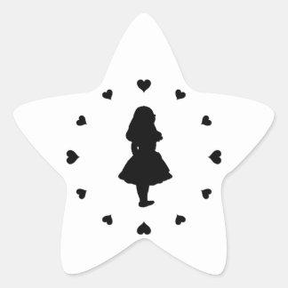 Corazones negros alrededor de Alicia Pegatina En Forma De Estrella