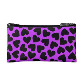 Corazones negros - bolso cosmético púrpura