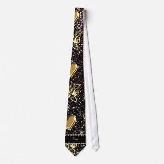 Corazones negros conocidos de encargo de los rosas corbata personalizada
