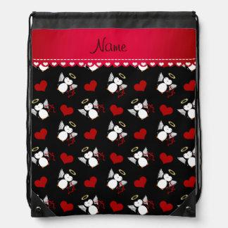 Corazones negros conocidos personalizados del rojo mochila