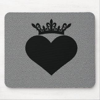 corazones negros de la arruga de la corona alfombrilla de ratón