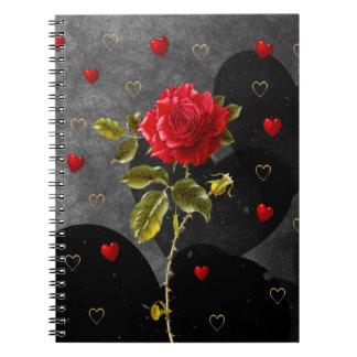 Corazones negros del Grunge con el rosa rojo
