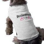 Corazones negros rosados de la dama de honor camisetas de perro