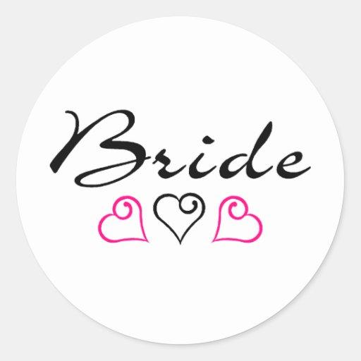 Corazones negros rosados de la novia etiqueta