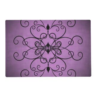 Corazones negros y púrpuras y remolinos tapete individual