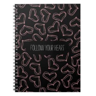 Corazones negros y rosados spiral notebooks