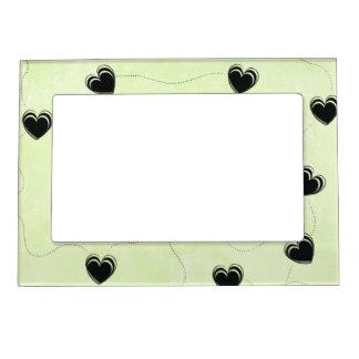 Corazones negros y verdes marcos magnéticos para fotos