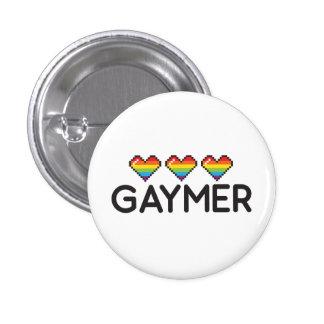 Corazones Nerdy divertidos del orgullo de Gaymer Pin Redondo De 1 Pulgada
