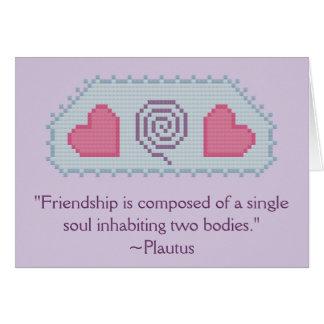 Corazones Notecard de la cita de la amistad del Tarjeta Pequeña