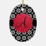 Corazones ornamentales negros del monograma ornamento para arbol de navidad