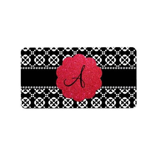 Corazones ornamentales negros del monograma etiquetas de dirección