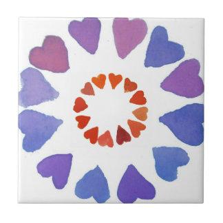 corazones pintados a mano del watercolour azulejo cuadrado pequeño