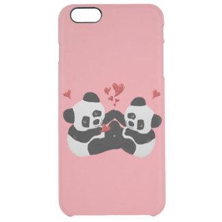 Corazones preciosos de la panda funda clearly™ deflector para iPhone 6 plus de unc