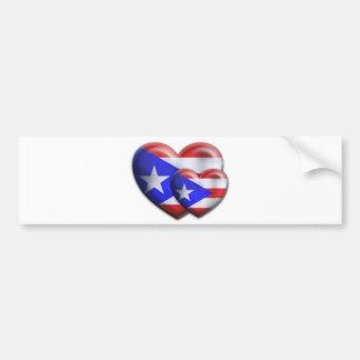 Corazones puertorriqueños de la bandera pegatina para auto