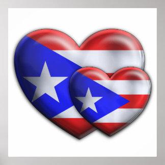 Corazones puertorriqueños de la bandera póster