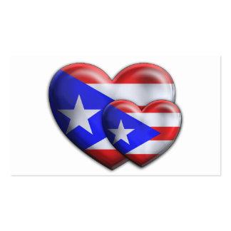 Corazones puertorriqueños de la bandera tarjetas de visita