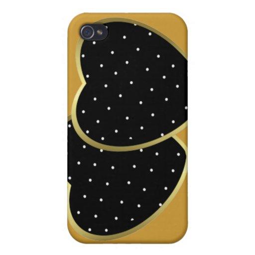 Corazones punteados polca negra iPhone 4 cárcasa