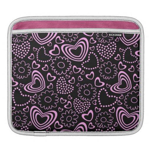 Corazones punteados y flores lindas en rosa y negr manga de iPad