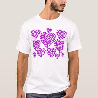 Corazones - púrpura playera
