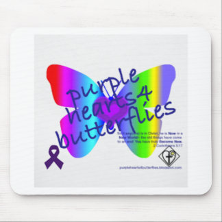 Corazones púrpuras 4 productos de las mariposas alfombrillas de raton