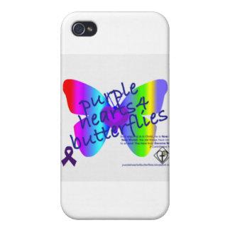 Corazones púrpuras 4 productos de las mariposas iPhone 4 carcasas