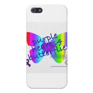 Corazones púrpuras 4 productos de las mariposas iPhone 5 carcasas