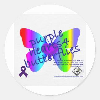 Corazones púrpuras 4 productos de las mariposas pegatina redonda