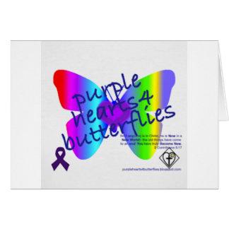 Corazones púrpuras 4 productos de las mariposas tarjeta de felicitación