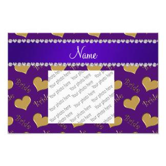 Corazones púrpuras conocidos de encargo de la fotografías