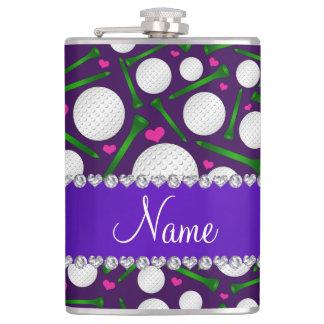 Corazones púrpuras conocidos personalizados de las petaca