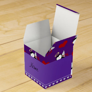 Corazones púrpuras conocidos personalizados del cajas para detalles de boda