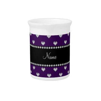 Corazones púrpuras conocidos personalizados del di jarras para bebida