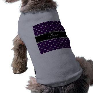 Corazones púrpuras conocidos personalizados del di ropa de perro